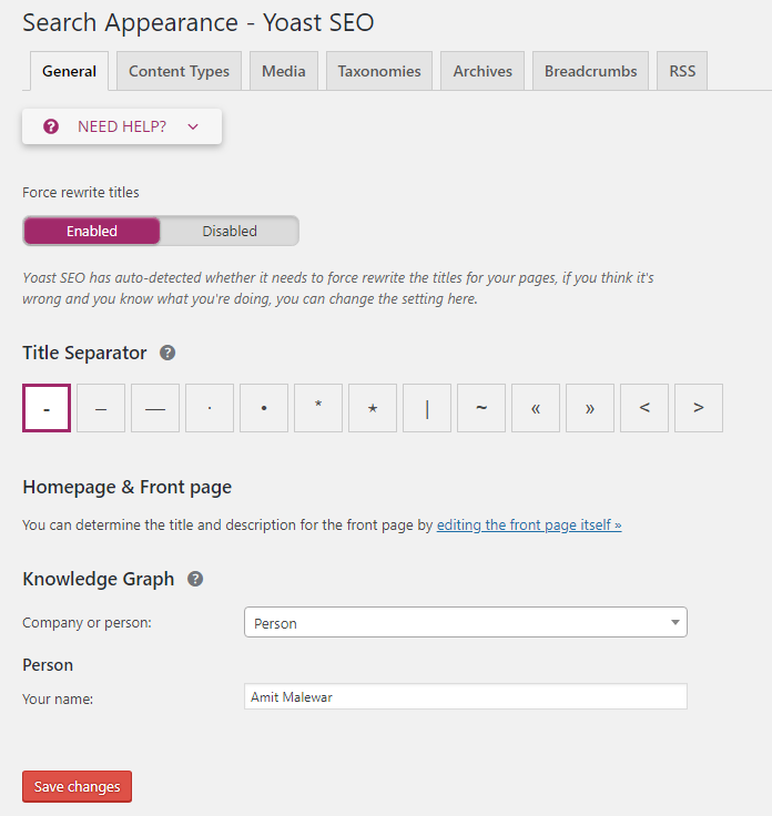 Search Appearance general settings Yoast SEO