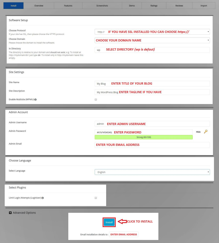 Cpannel Softaculous WordPress Info