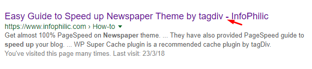 title separator shown in SERP