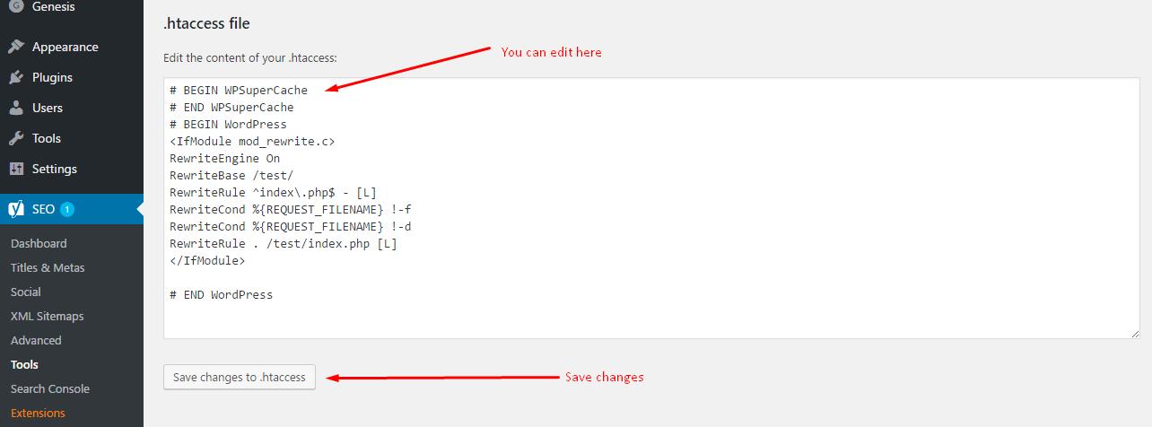 edit htaccess