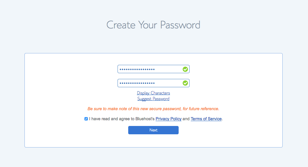 Choose a password for your Bluehost account