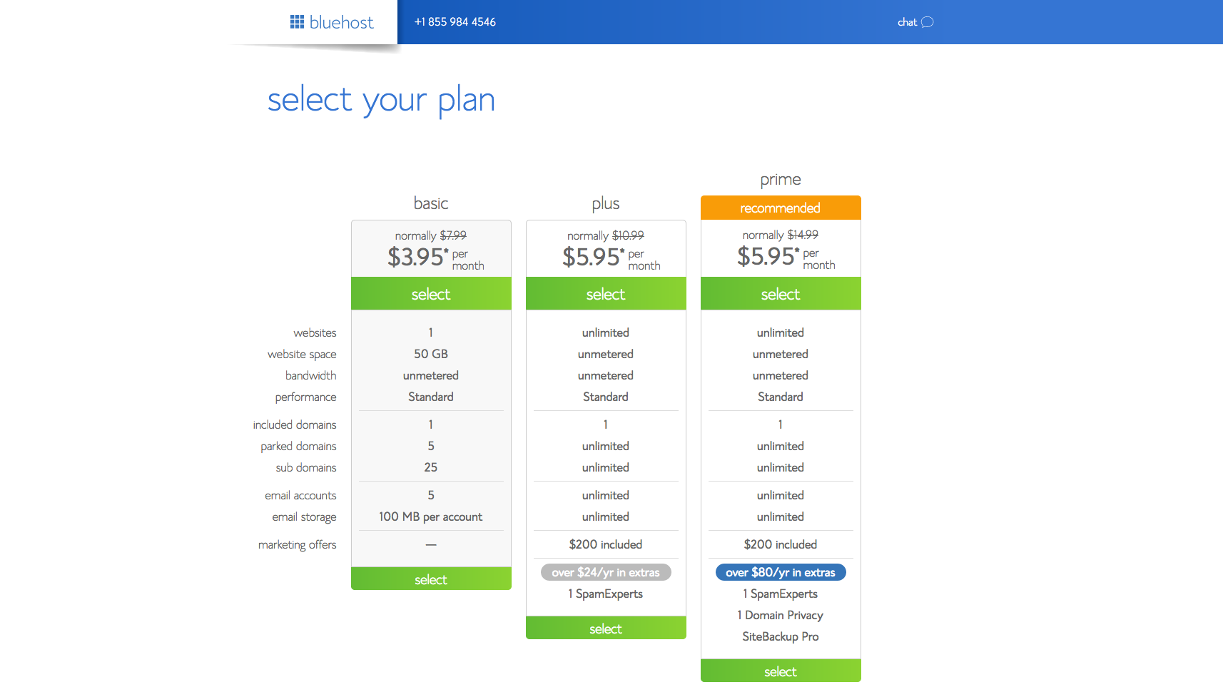Select bluehost hosting plan