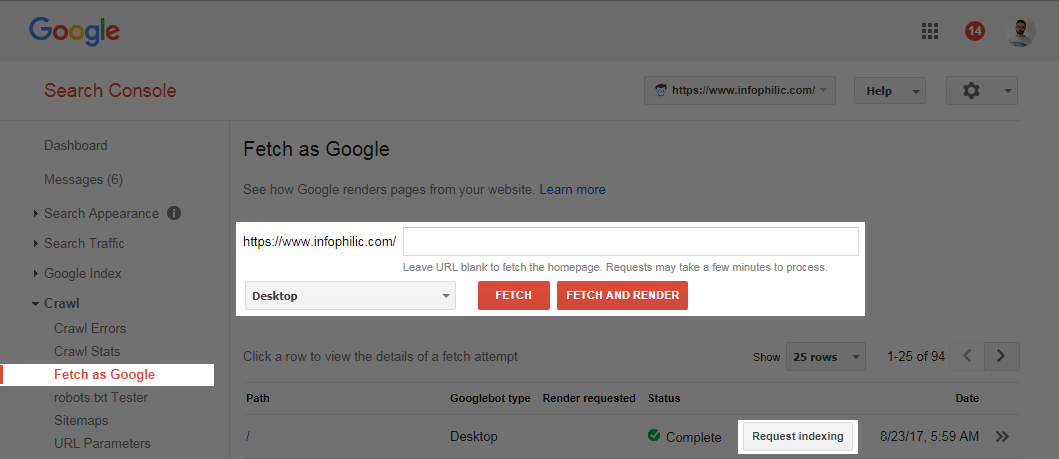 Google search console submit