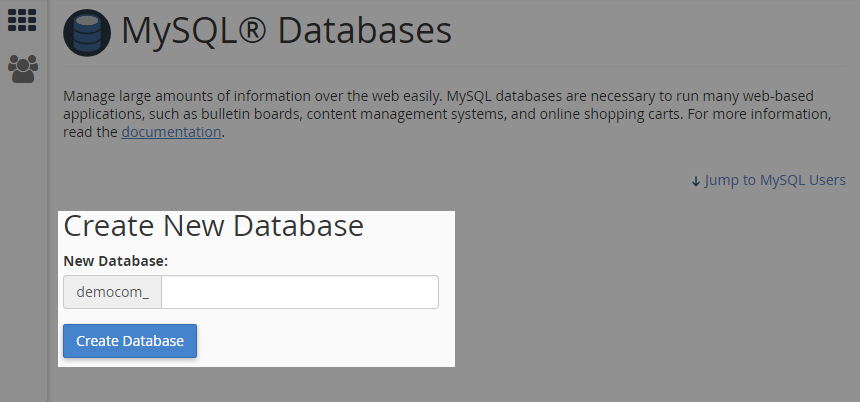 Create Database using cPanel