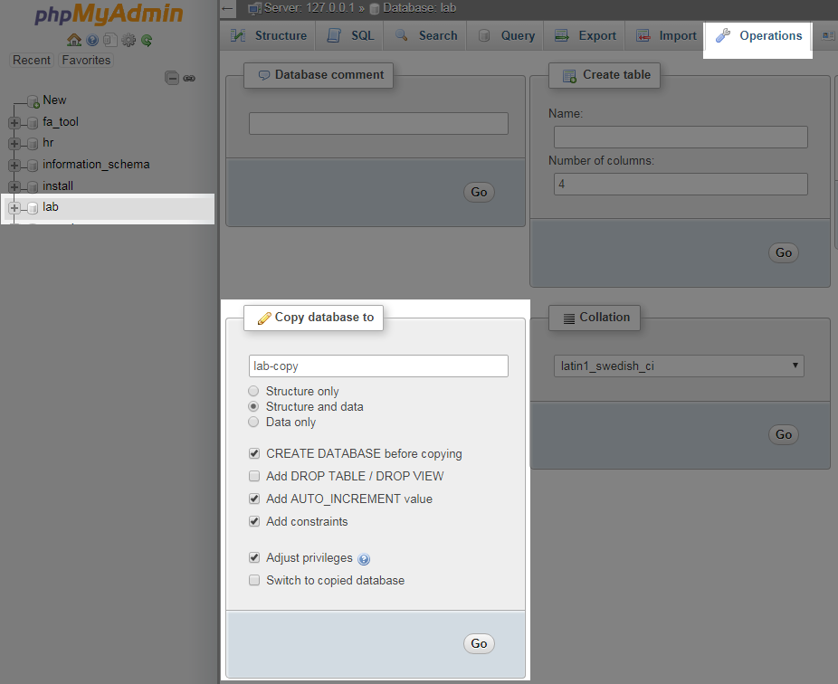 Duplicate WordPress Database using phpMyAdmin