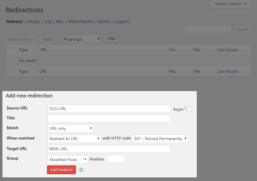 Adding post/page redirect using advanced options in redirection plugin in WordPress