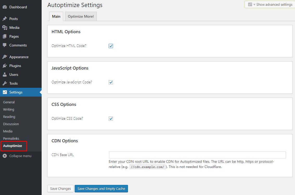 Autoptimize setting page