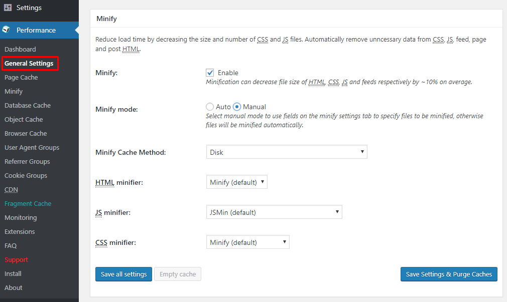 W3 Total cache minify settings