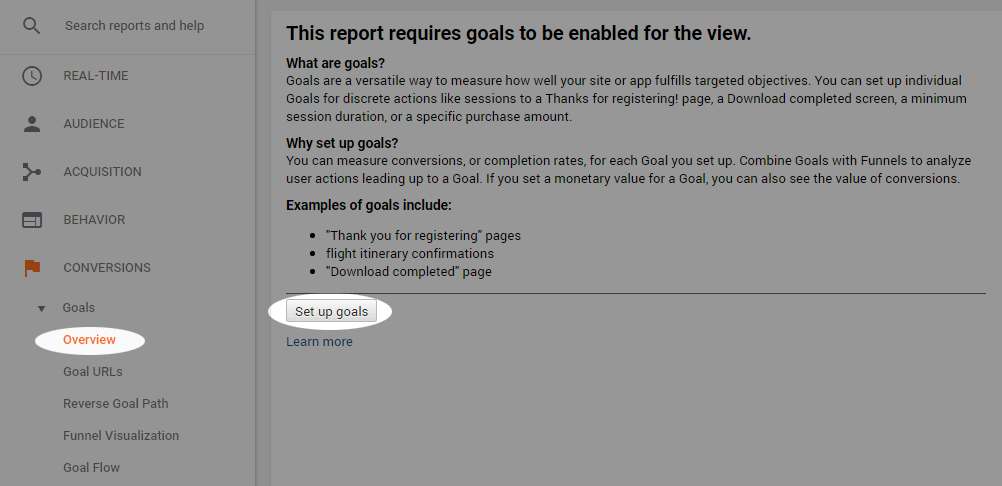 Set up goal in Google Analytics