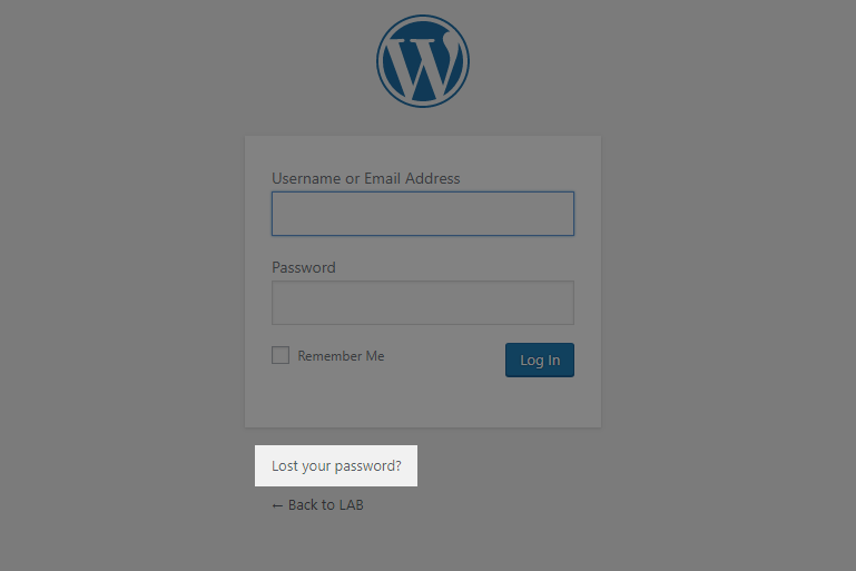 WordPress login screen | Lost your password?