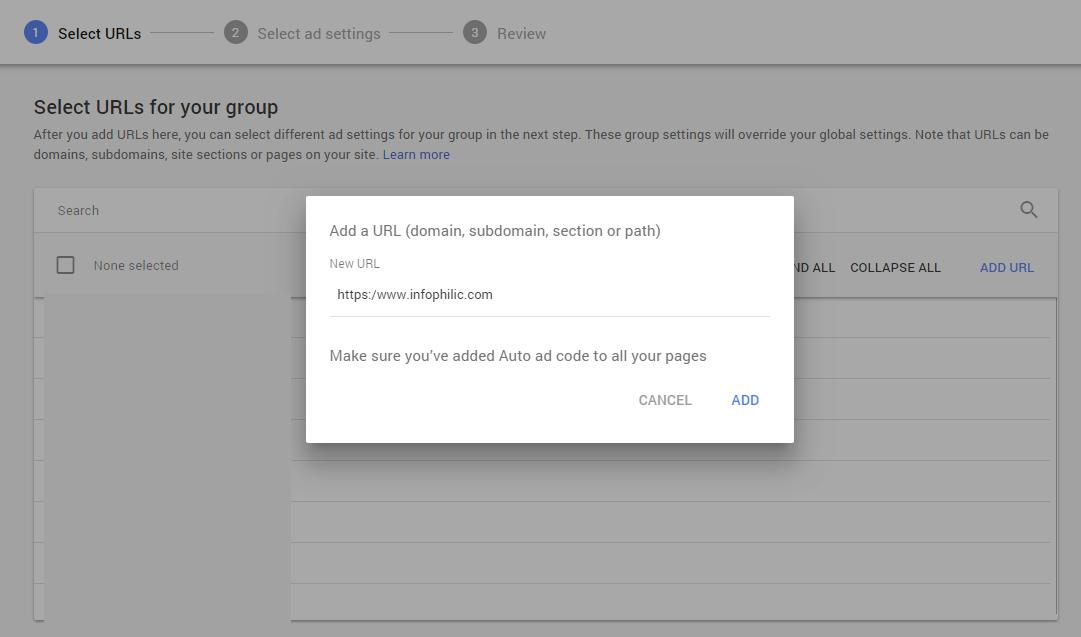 Masukkan URL yang ingin Anda tambahkan ke grup URL Anda
