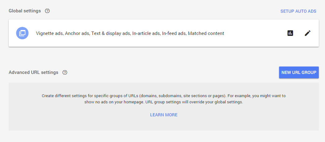 Advanced URL settings in Auto Ads