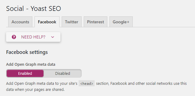 Social - Yoast SEO Facebook settings  Add Open Graph meta data