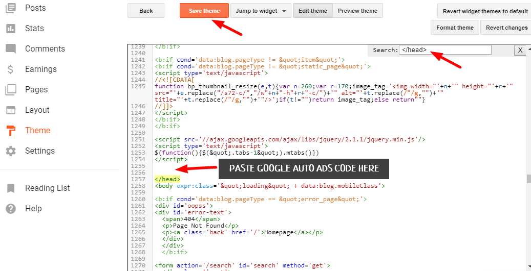 Adding Google Auto Ads in blogger using theme editor