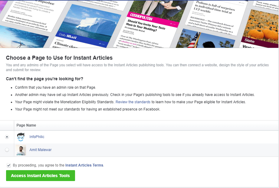 Choose a Page to Use for Instant Articles