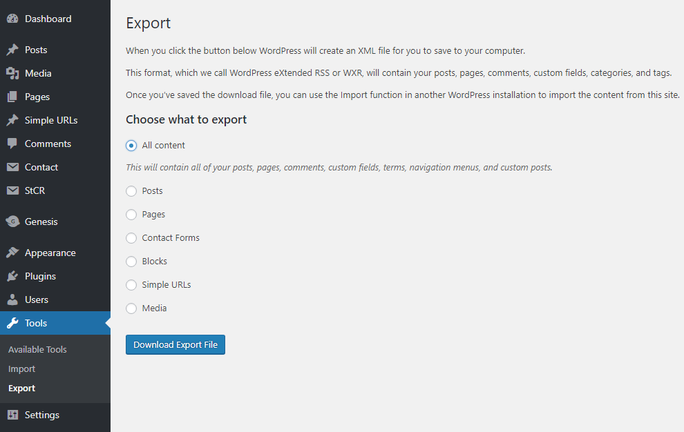 Export content tool in WordPress dashboard