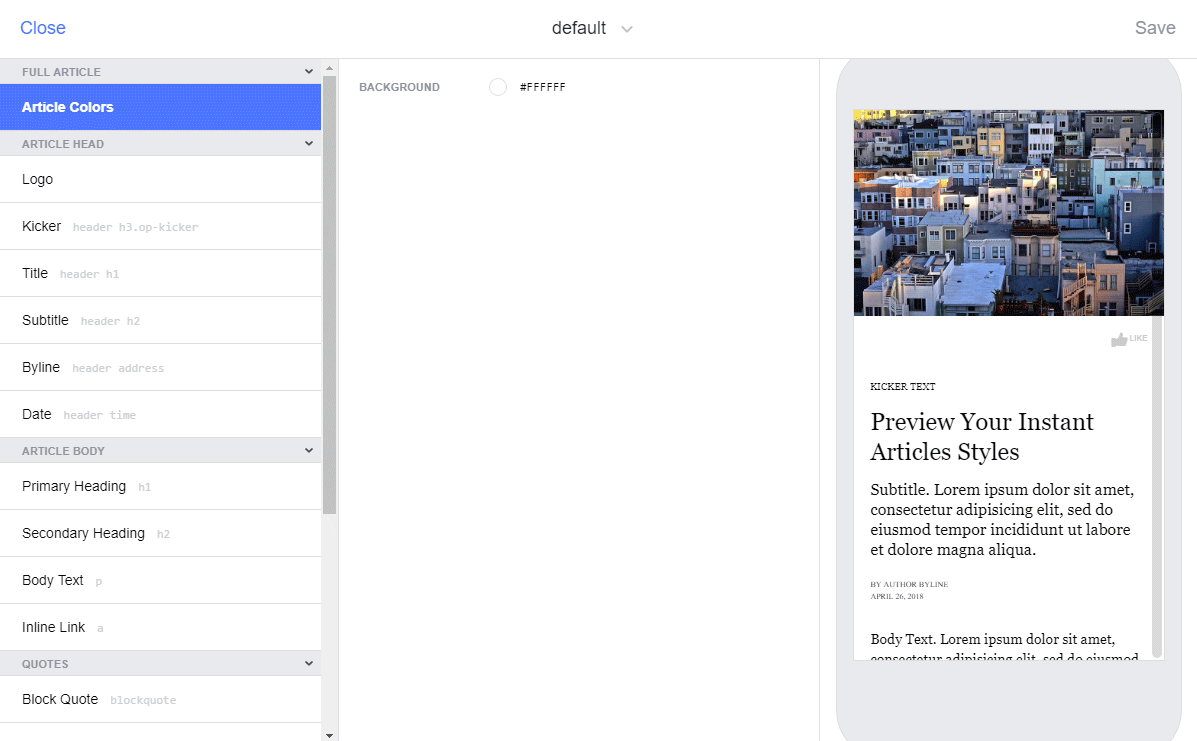 Editing style for Facebook instant articles