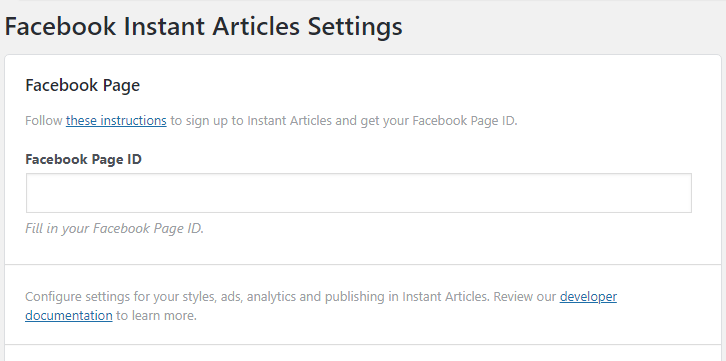 Facebook instant articles settings