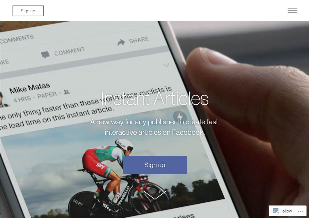 Sign up for Facebook Instant Articles