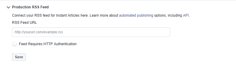 Production URL for Facebook Instant articles