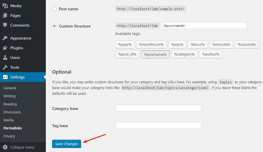 Permalinks settings in WordPress
