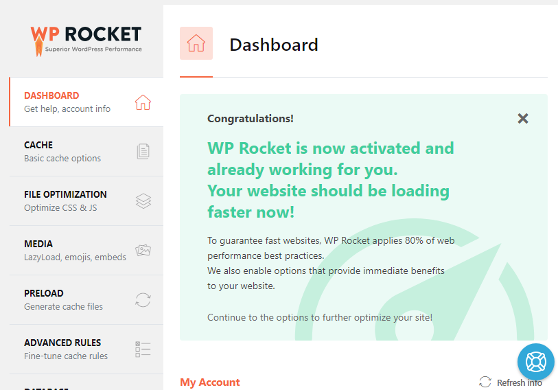 WP Rocket is now activated and already working for you.
