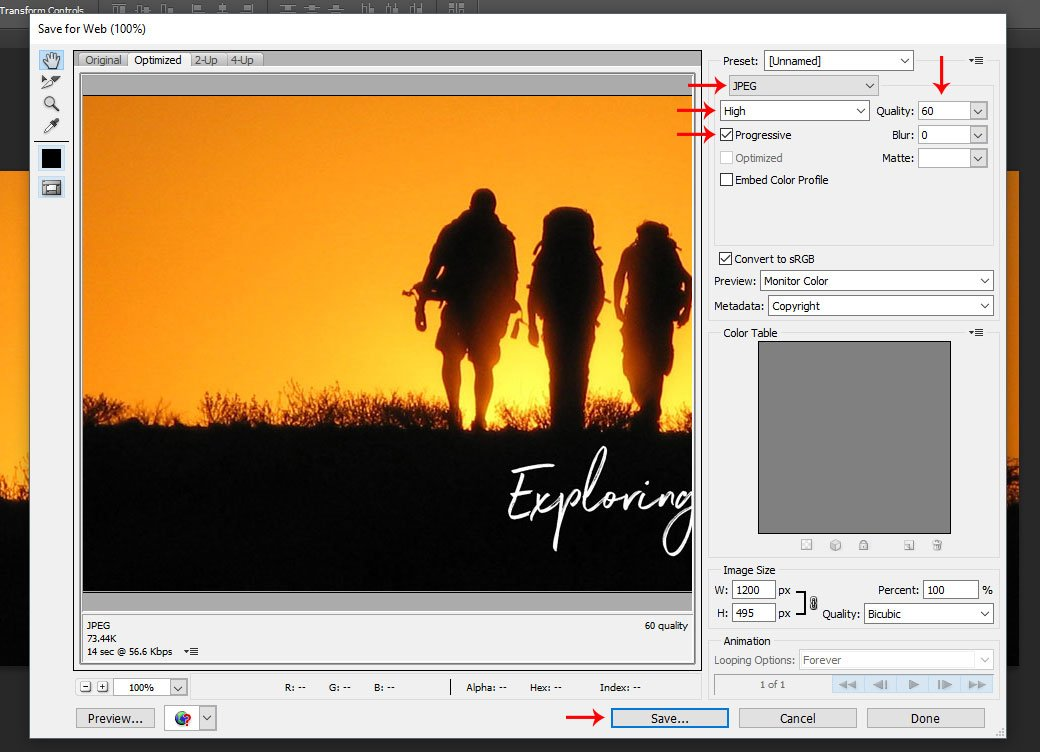 Progressive Image configuration in Adobe Photoshop