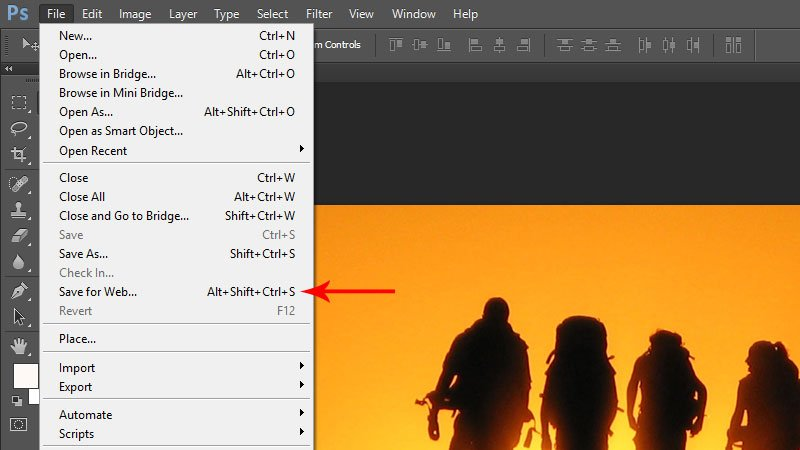 Save for web option in Adobe Photoshop