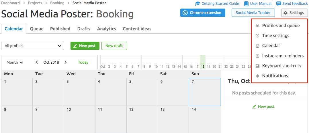 Social media poster booking in Semrush