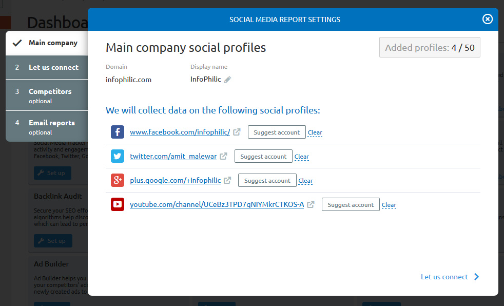 Social media report settings in Semrush