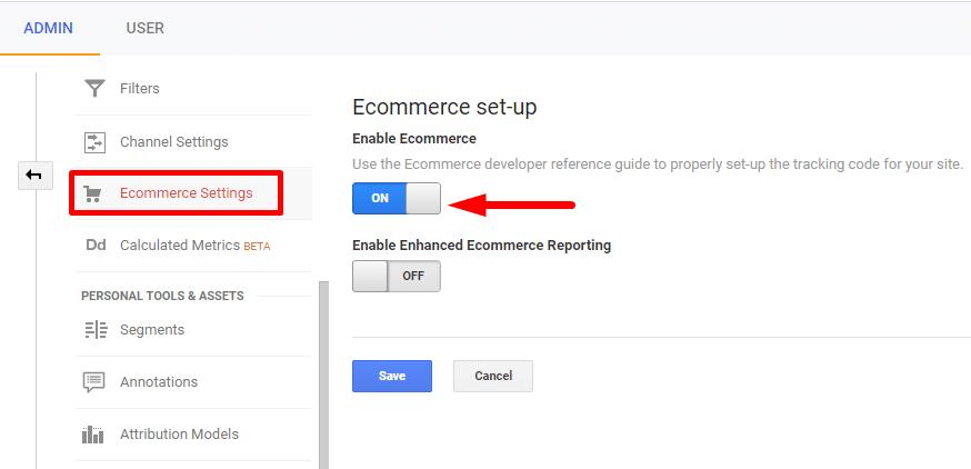 Enabling E-commerce set-up in Google Analytics
