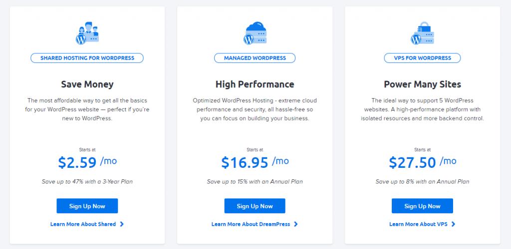 Dreamhost WordPress Hosting plans