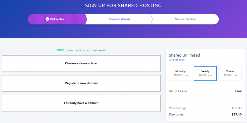 Sign up for Dreamhost shared hosting plan