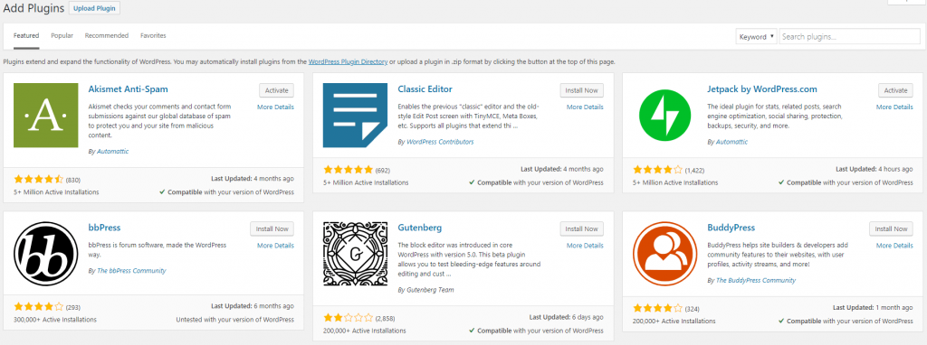 Plugins directory in WordPress dashboard