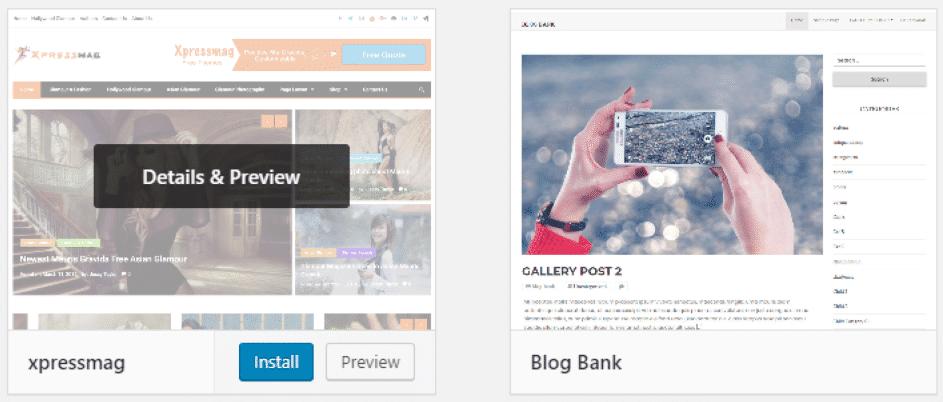 Installing a WordPress theme