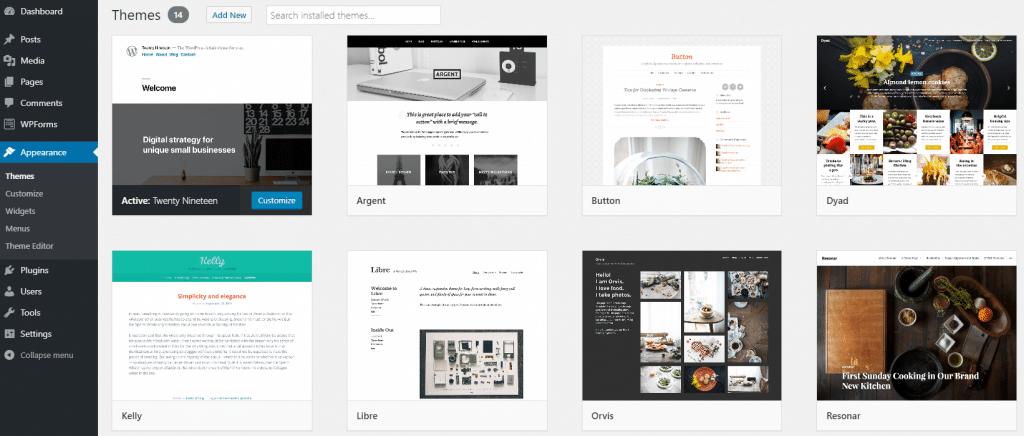 Theme directory in WordPress dashboard