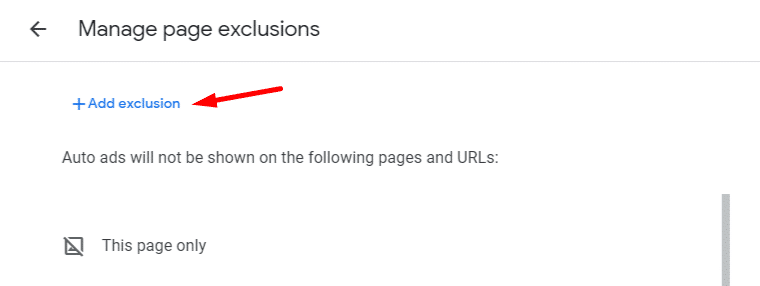 Manage page exclusion