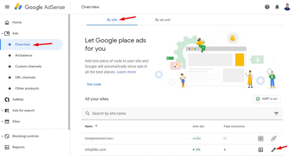 Google AdSense auto ad setup