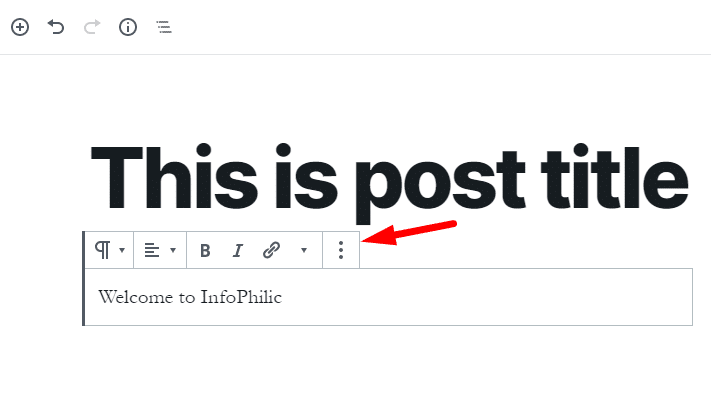 Text formatting bar on paragraph blog in Gutenberg Editor