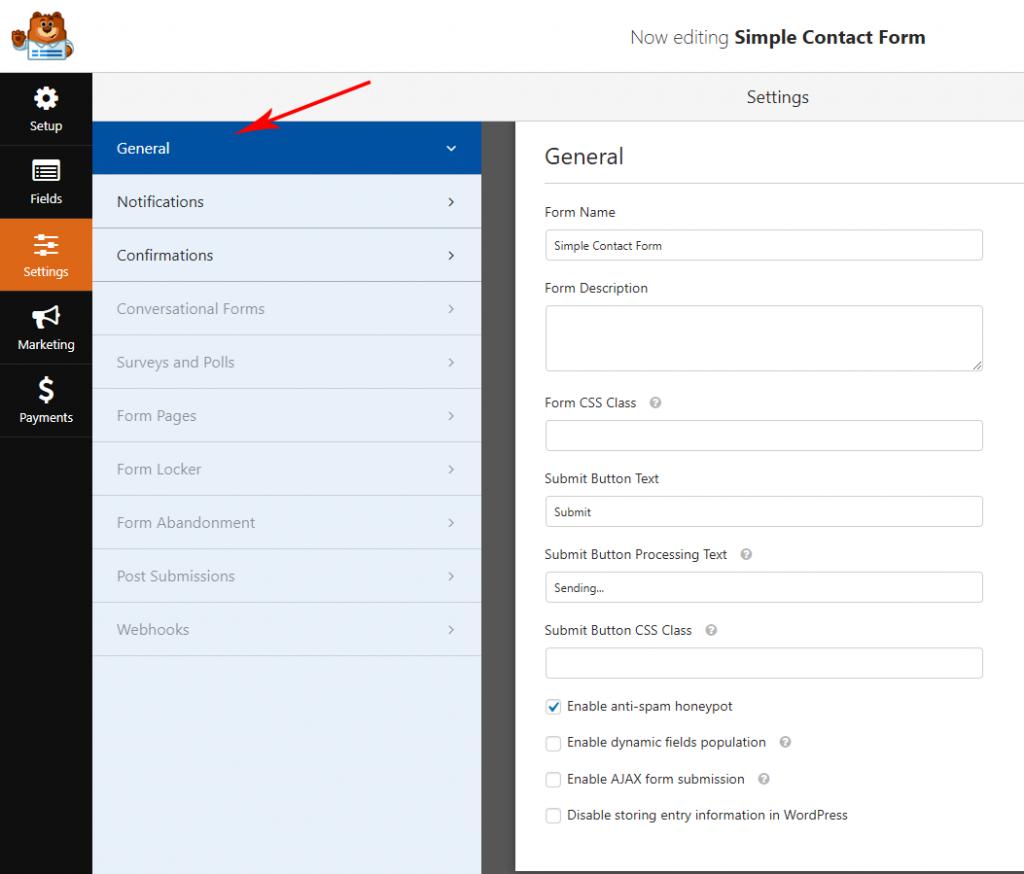 General form settings in WPForms
