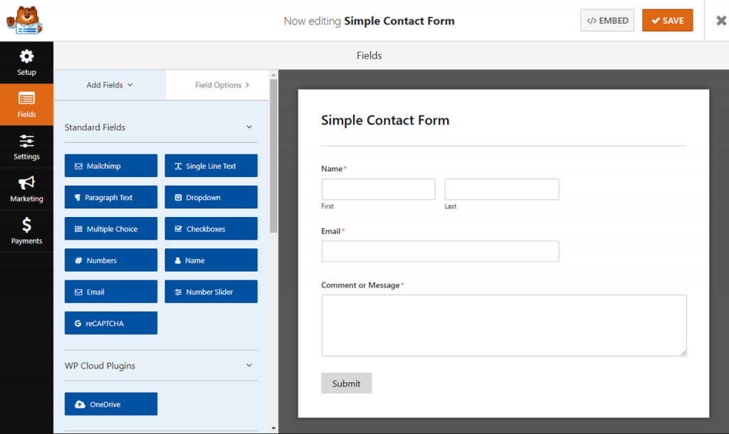 Simple contact form using WPForms