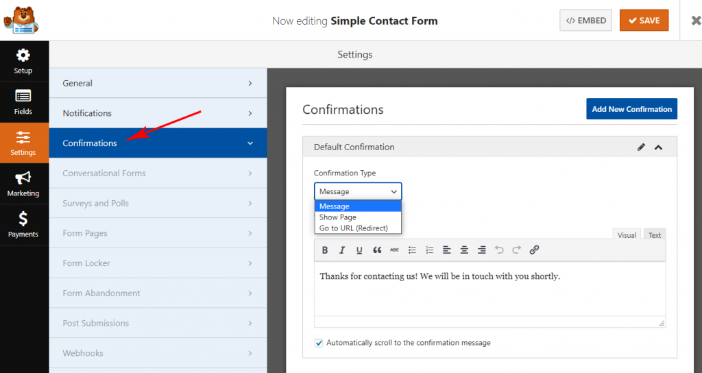 Manage WPForms confirmation