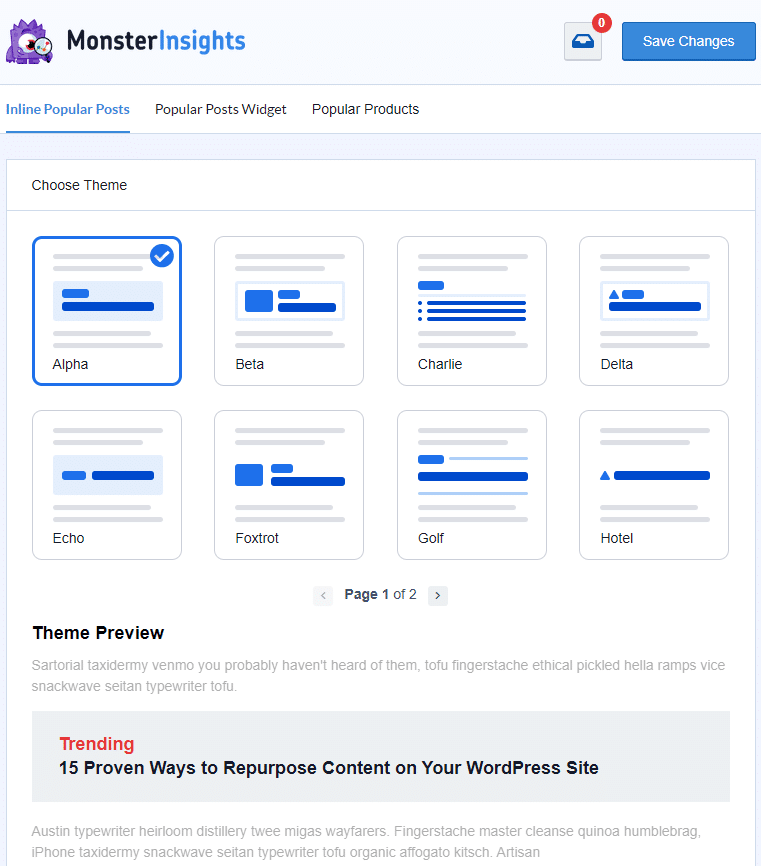 Available themes for MonsterInsights popular posts